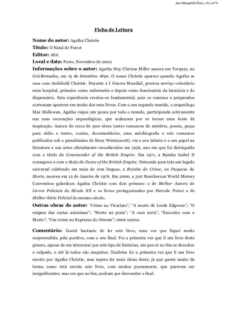 Ana Margarida Pinto, nº3 10ºA                                 Ficha de LeituraNome do autor: Agatha ChristieTítulo: O Nata...