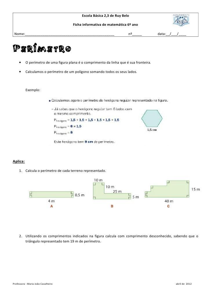 Escola Básica 2,3 de Ruy Belo                                       Ficha informativa de matemática 6º ano Nome:__________...