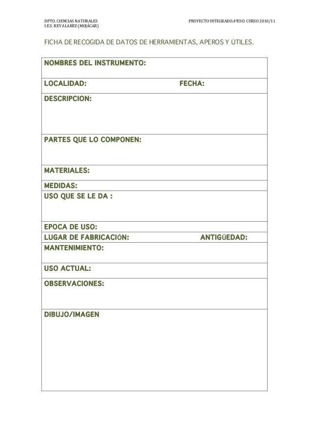 Ficha de recogida de datos de herramientas