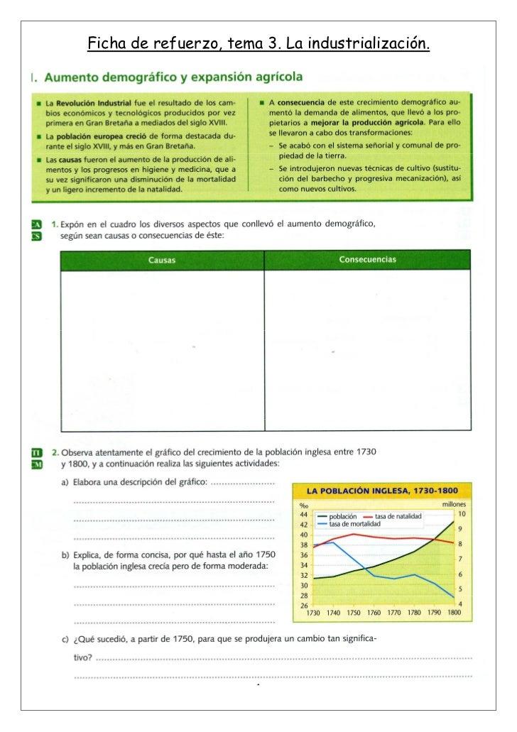 Ficha de refuerzo, tema 3. La industrialización.                       1