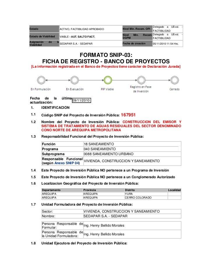 Proyecto Escalerilla - Ficha de Registro SNIP 16795