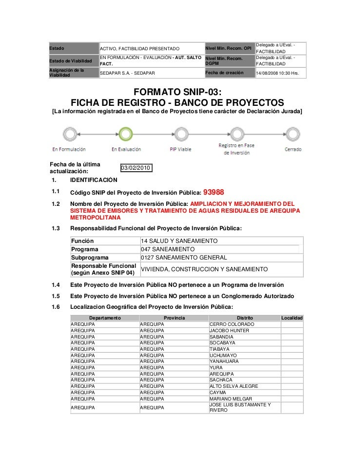 Proyecto Plantas de Tratamiento de Aguas Servidas para Arequipa Metropolitana - Ficha de Registro SNIP 98988