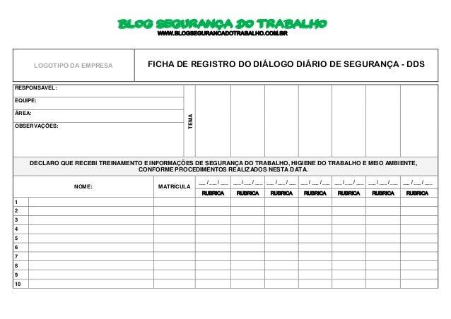 Ficha de Registro do Diálogo Diário de Segurança - DDS