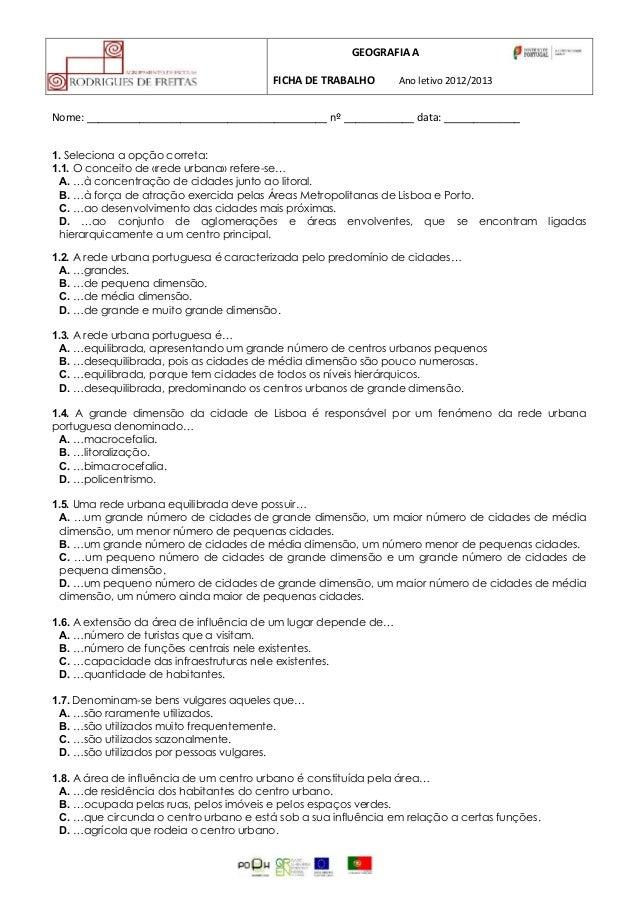 GEOGRAFIA A                                         FICHA DE TRABALHO      Ano letivo 2012/2013Nome: _____________________...