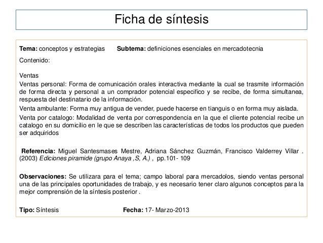 Ficha de síntesisTema: conceptos y estrategias     Subtema: definiciones esenciales en mercadotecniaContenido:VentasVentas...