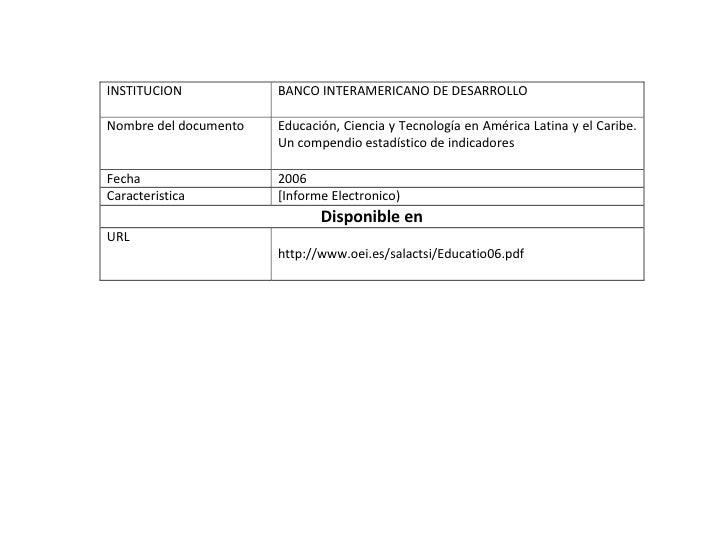 INSTITUCION            BANCO INTERAMERICANO DE DESARROLLO  Nombre del documento   Educación, Ciencia y Tecnología en Améri...