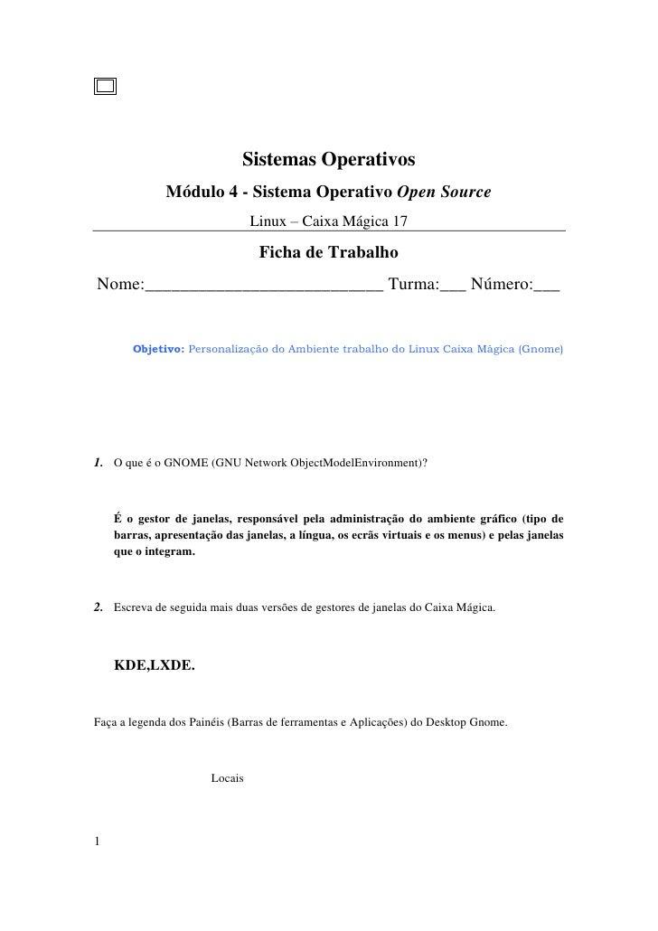 Sistemas Operativos              Módulo 4 - Sistema Operativo Open Source                                Linux – Caixa Mág...