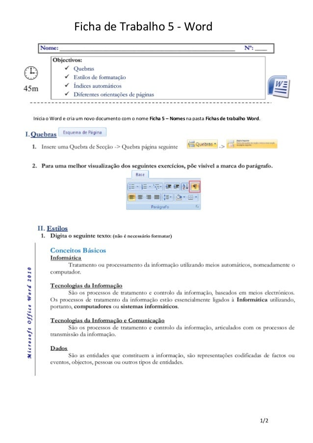 Ficha word 5 -  quebras, indices, estilos fonte, orientação pagina