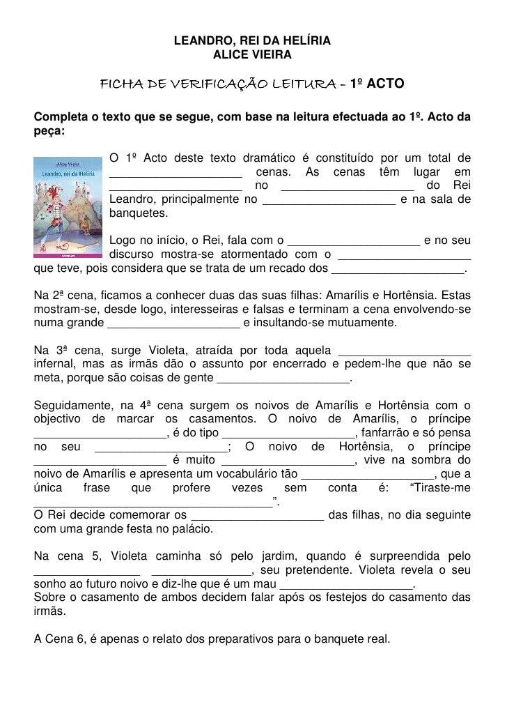 """Ficha De Verificação De Leitura, """"Leandro, rei da Helíria"""""""