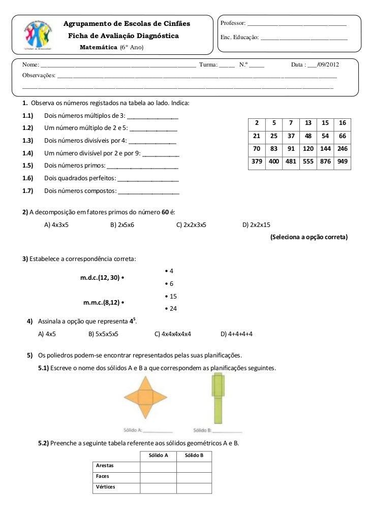 Ficha diagnóstica de matemática - 6º ano