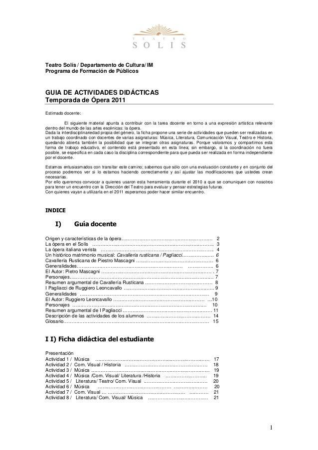 1  Teatro Solís / Departamento de Cultura/ IM  Programa de Formación de Públicos  GUIA DE ACTIVIDADES DIDÁCTICAS  Temporad...