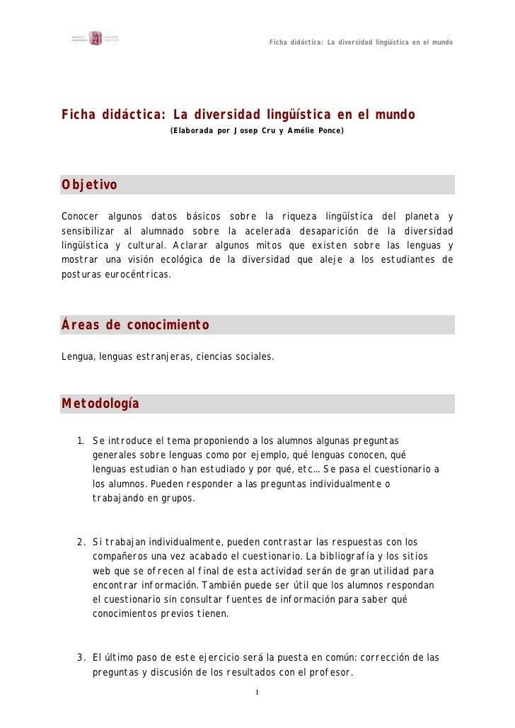 Ficha didáctica: La diversidad lingüística en el mundo     Ficha didáctica: La diversidad lingüística en el mundo         ...