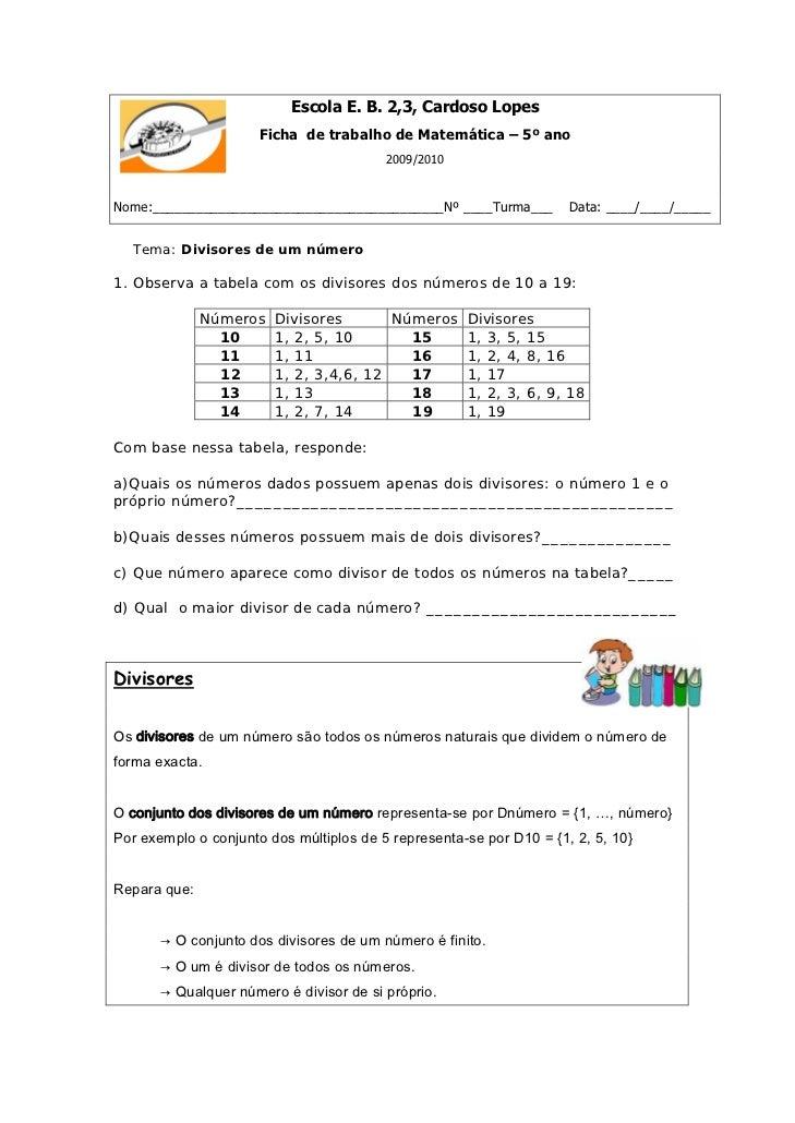 Escola E. B. 2,3, Cardoso Lopes                      Ficha de trabalho de Matemática – 5º ano                             ...