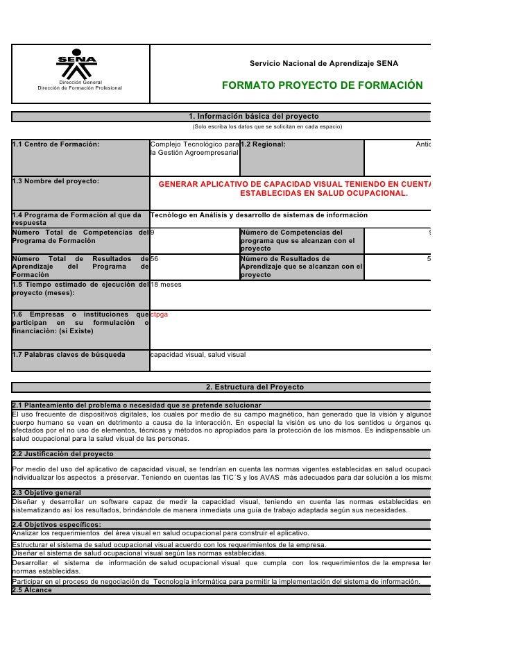 Servicio Nacional de Aprendizaje SENA                   Dirección General         Dirección de Formación Profesional      ...