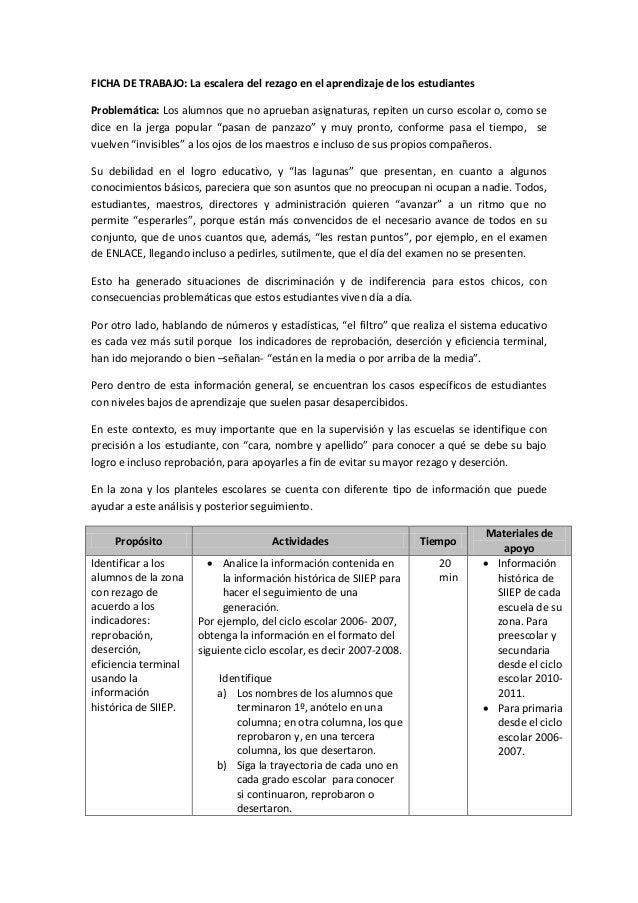 FICHA DE TRABAJO: La escalera del rezago en el aprendizaje de los estudiantes Problemática: Los alumnos que no aprueban as...