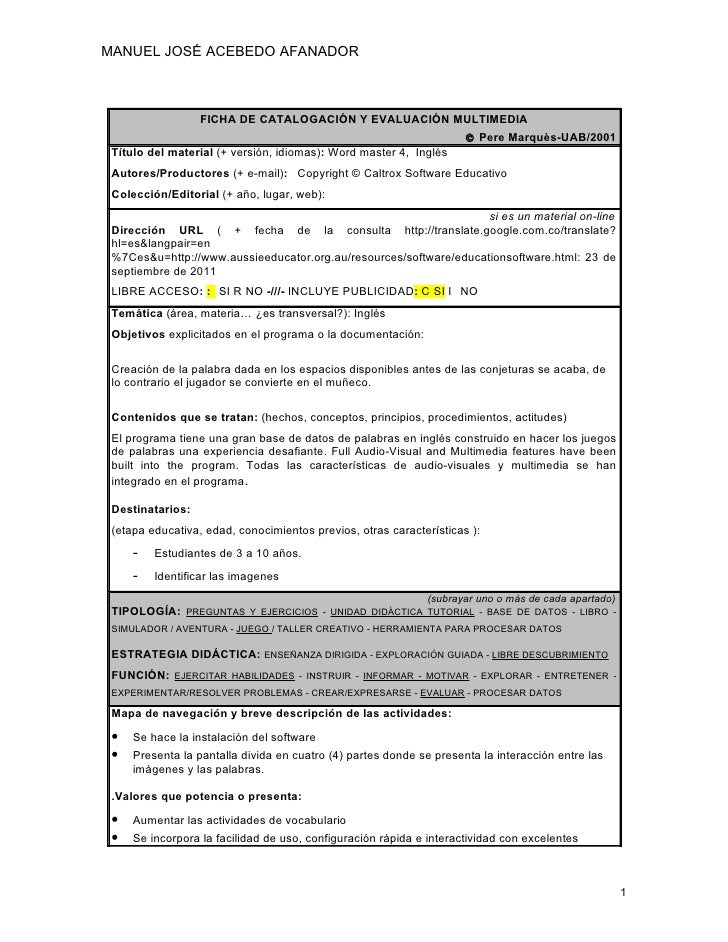 MANUEL JOSÉ ACEBEDO AFANADOR                  FICHA DE CATALOGACIÓN Y EVALUACIÓN MULTIMEDIA                               ...