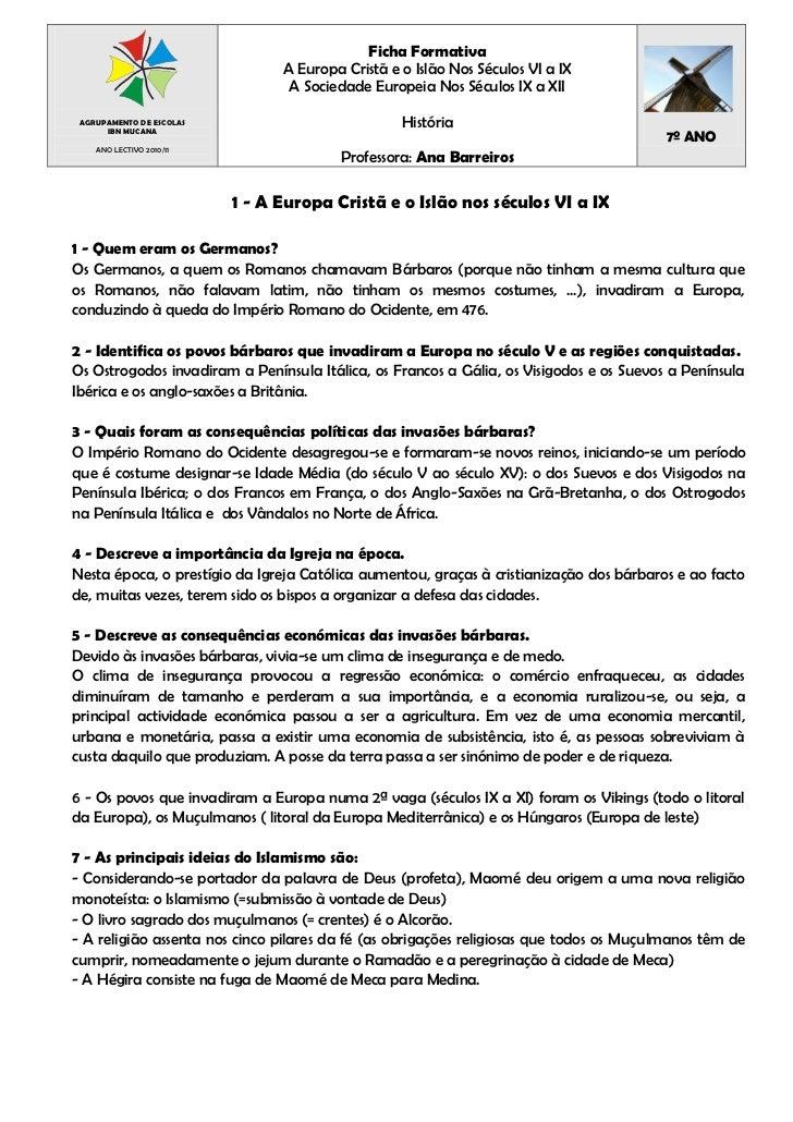 Ficha Formativa                                A Europa Cristã e o Islão Nos Séculos VI a IX                              ...