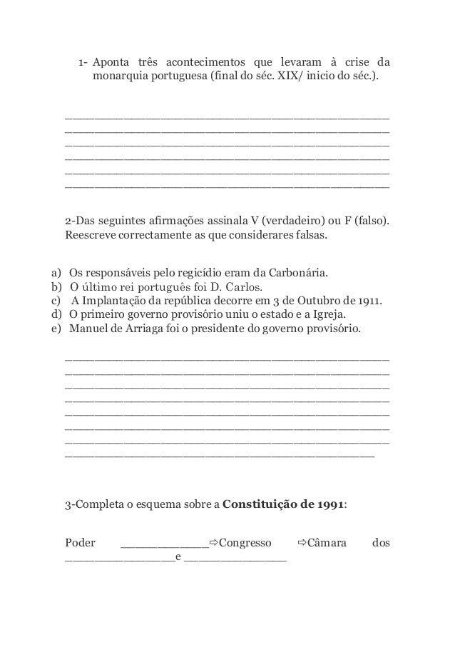 1- Aponta três acontecimentos que levaram à crise da  monarquia portuguesa (final do séc. XIX/ inicio do séc.).  _________...