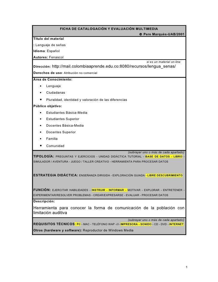 FICHA DE CATALOGACIÓN Y EVALUACIÓN MULTIMEDIA                                                                       © Pere...