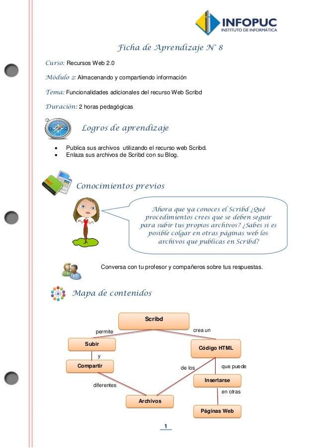 1  Ficha de Aprendizaje N° 8  Curso: Recursos Web 2.0  Módulo 2: Almacenando y compartiendo información  Tema: Funcionalid...