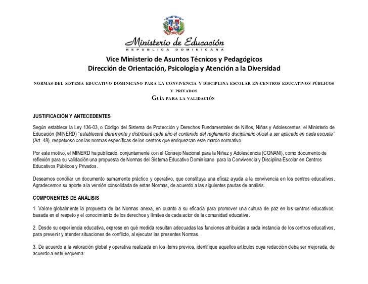 Vice Ministerio de Asuntos Técnicos y Pedagógicos                          Dirección de Orientación, Psicología y Atención...