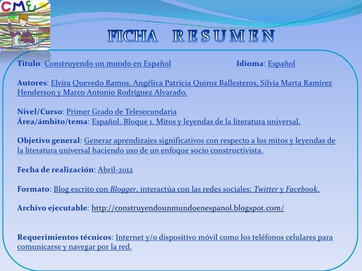 Título: Construyendo un mundo en Español                        Idioma: EspañolAutores: Elvira Quevedo Ramos, Angélica Pat...