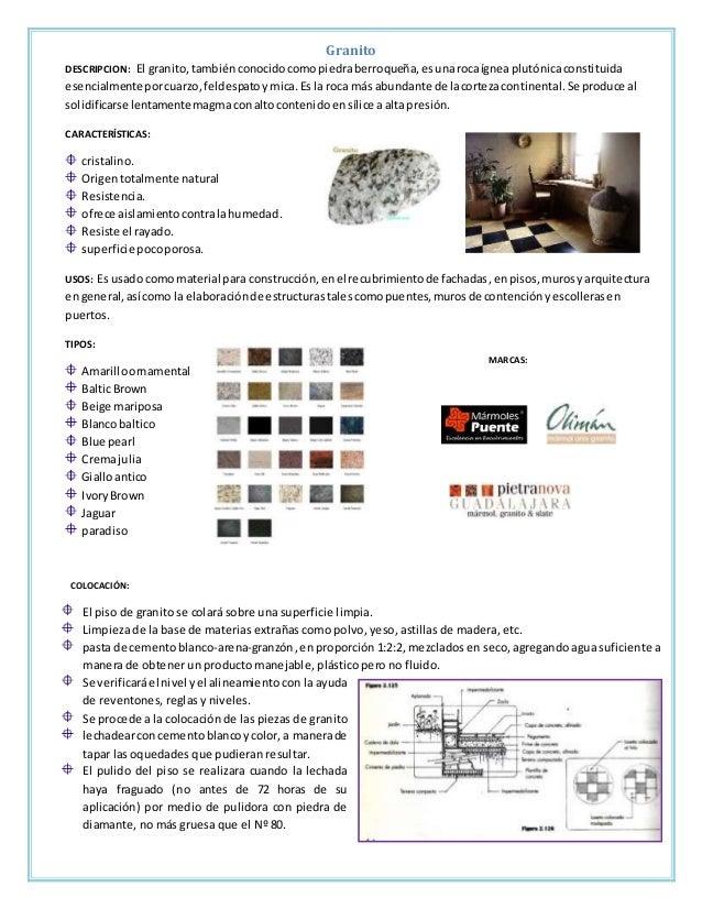Fichas tecnicas acabados en pisos for Como se vende el granito