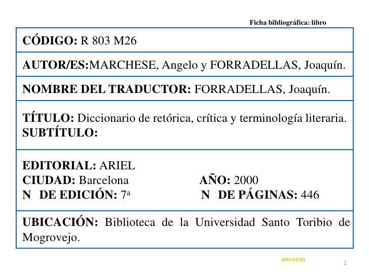 Ficha bibliográfica: libroCÓDIGO: R 803 M26AUTOR/ES:MARCHESE, Angelo y FORRADELLAS, Joaquín.NOMBRE DEL TRADUCTOR: FORRADEL...