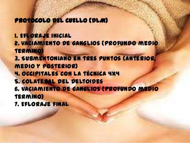 PROTOCOLO DEL CUELLO (DLM)1. Efloraje inicial2. Vaciamiento de ganglios (profundo mediotermino)3. Submentoniano en tres pu...