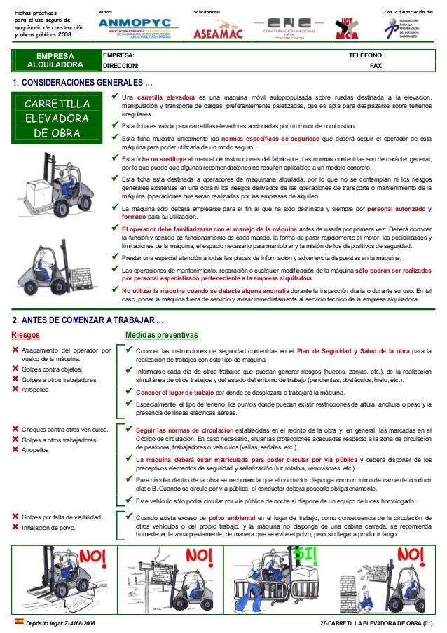Autor: Solicitantes: Con la financiación de:Fichas prácticas para el uso seguro de maquinaria de construcción y obras públ...