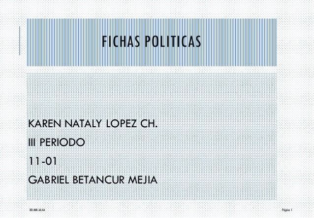 FICHAS POLITICAS  KAREN NATALY LOPEZ CH.  III PERIODO  11-01  GABRIEL BETANCUR MEJIA  DD.MM.AAAA Página 1