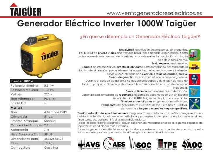 www.ventageneradoreselectricos.es   Generador Eléctrico Inverter 1000W Taigüer                                     ¿En que...