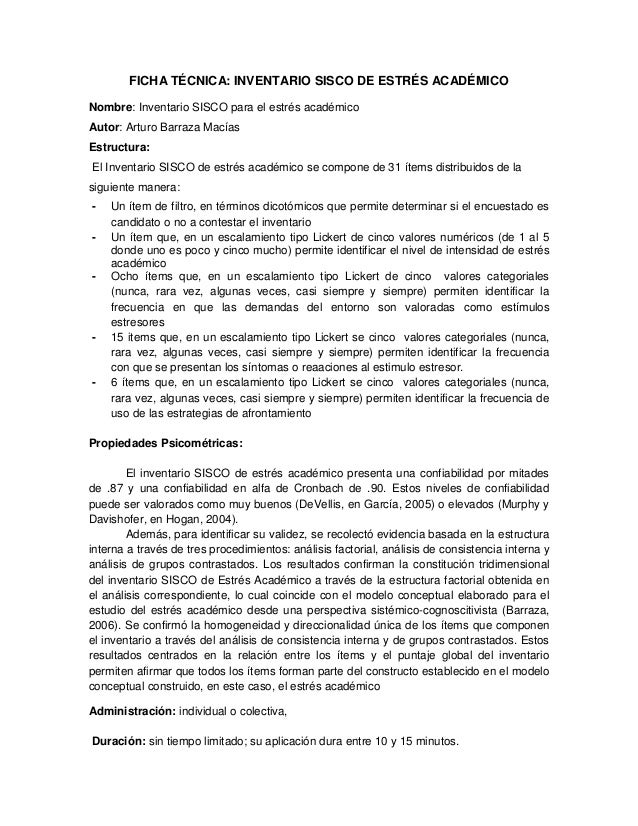 Ficha técnica del inventario sisco de estres academico