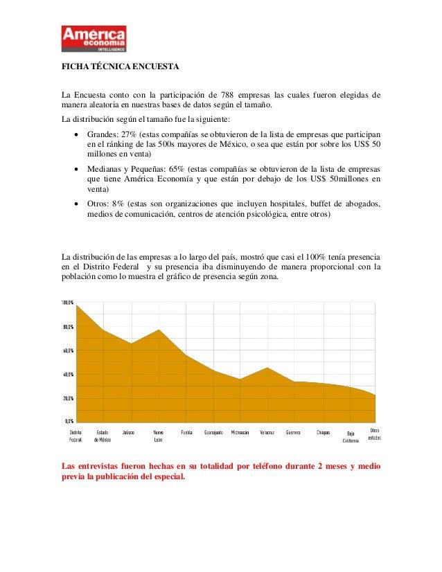 FICHA TÉCNICA ENCUESTALa Encuesta conto con la participación de 788 empresas las cuales fueron elegidas demanera aleatoria...