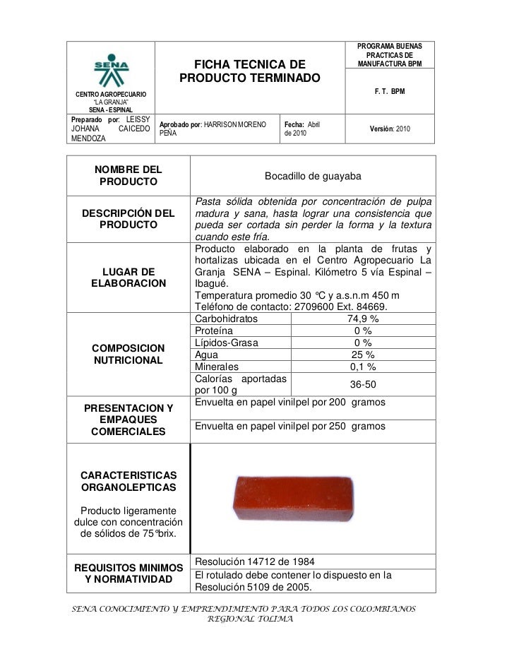 FICHA TECNICA BOCADILLO DE GUAYABA
