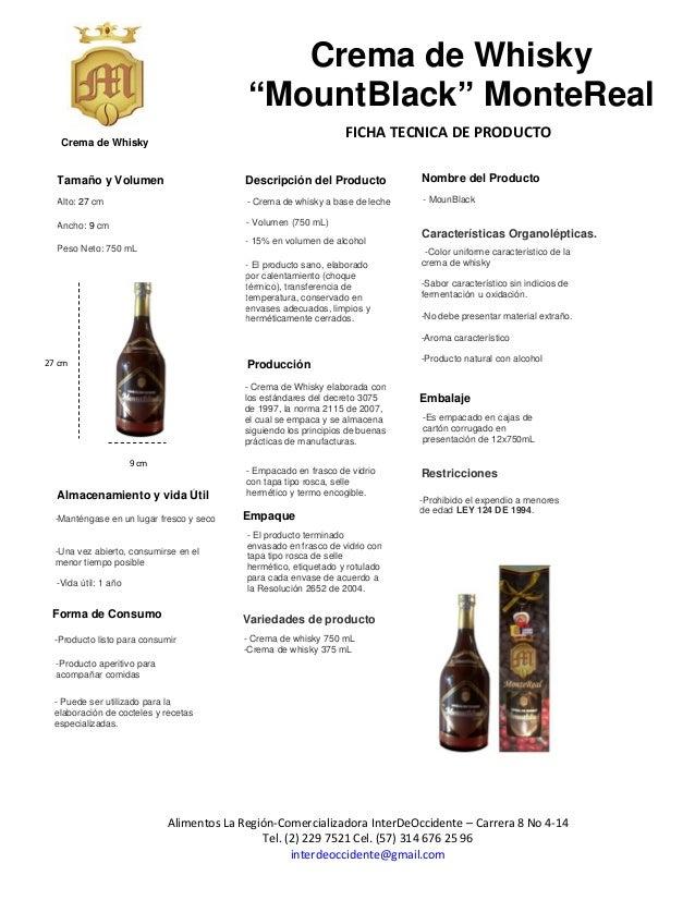 Ficha tecnica crema de whisky mountblack