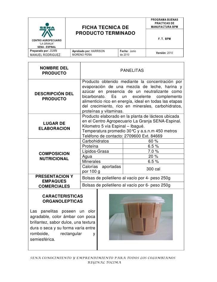 FICHA TECNICA PANELITAS
