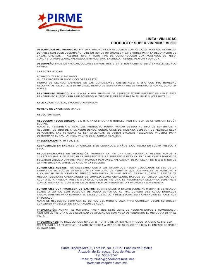 Ficha tecnica de todos los productos de Pinturas Pirme.