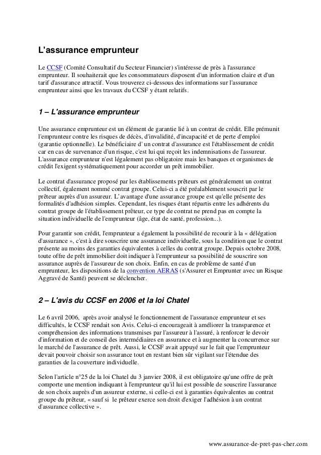 Lassurance emprunteurLe CCSF (Comité Consultatif du Secteur Financier) sintéresse de près à lassuranceemprunteur. Il souha...