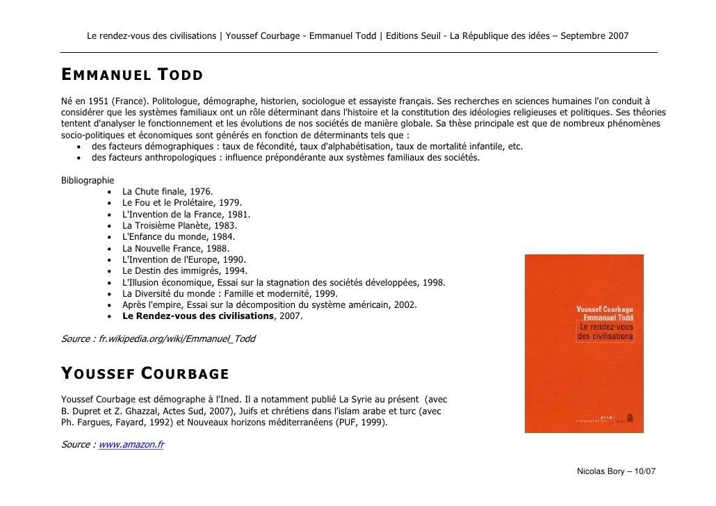 Le rendez-vous des civilisations   Youssef Courbage - Emmanuel Todd   Editions Seuil - La République des idées – Septembre...