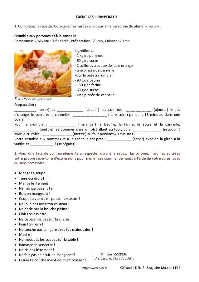 Fiche p dagogique fle imp ratif for Cuisine sur la 2