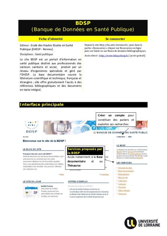 BDSP          (Banque de Données en Santé Publique)                Fichedidentité                                       ...