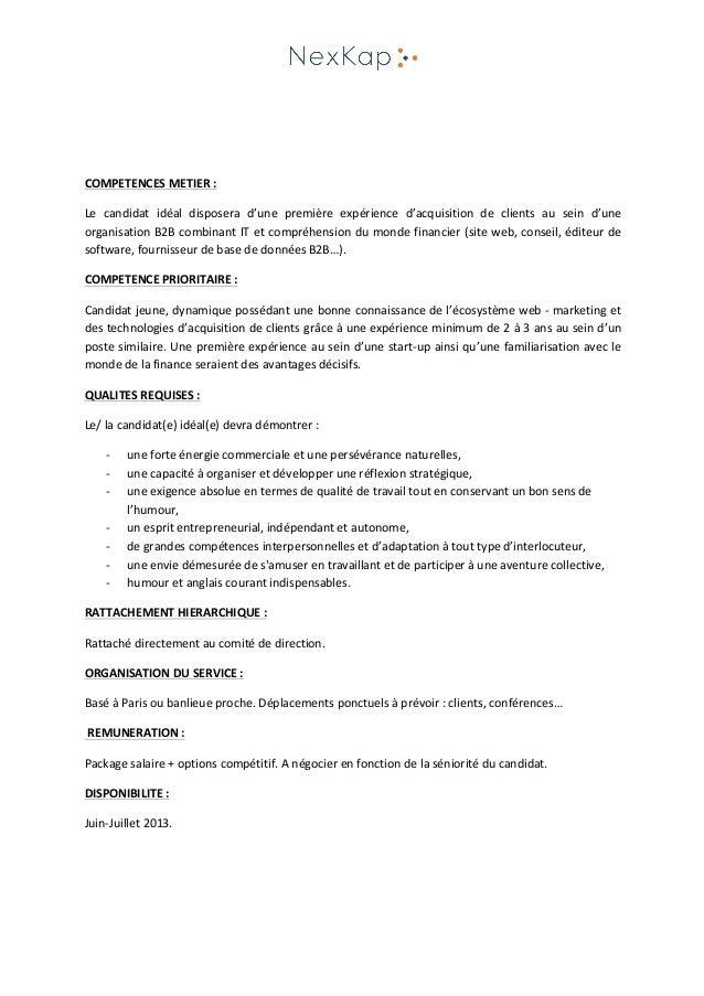 Modele Fiche De Poste Responsable Commercial Document Online