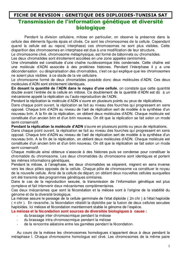 FICHE DE REVSION : GENETIQUE DES DIPLOIDES-TUNISIA SAT    Transmission de l'information génétique et diversité            ...