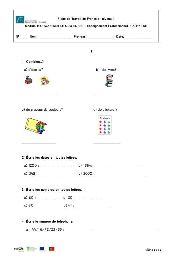 Página 1 de 6I1. Combien…?a) d'écoles? b) de livres?_________________ _____________c) de crayons de couleurs? d) de sticke...