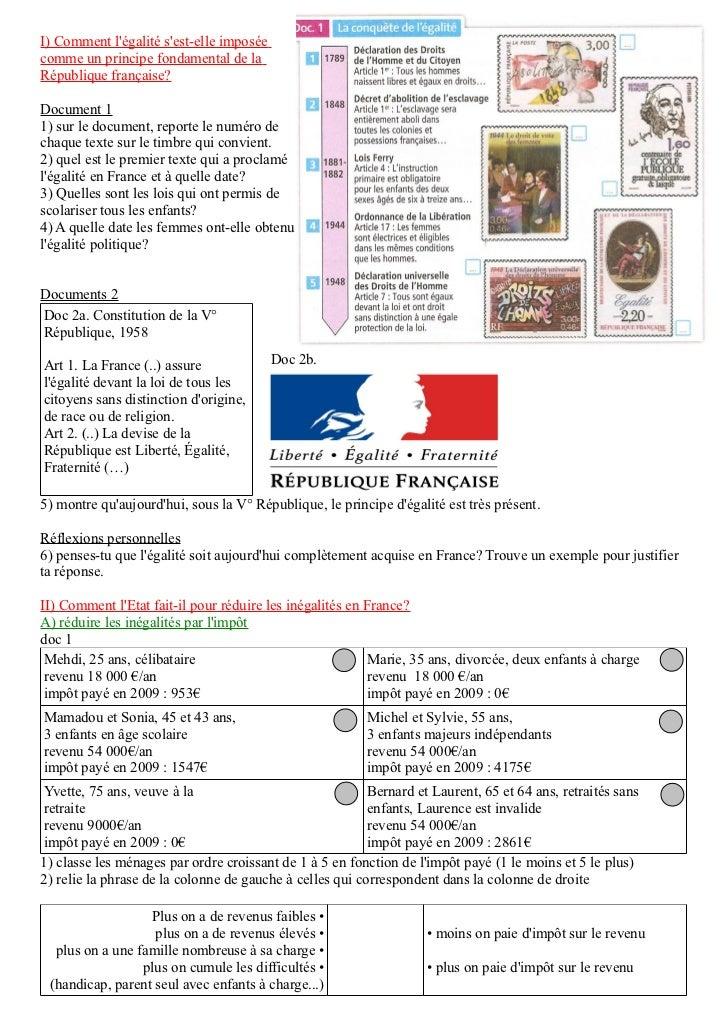 I) Comment légalité sest-elle imposéecomme un principe fondamental de laRépublique française?Document 11) sur le document,...