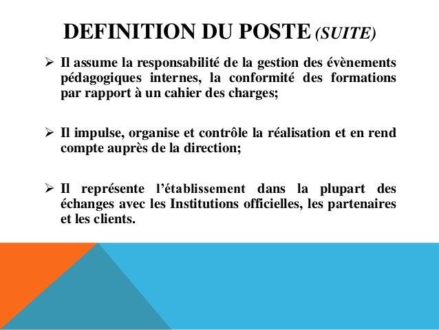 Fiche metier coordinateur - Cahier des charges definition ...