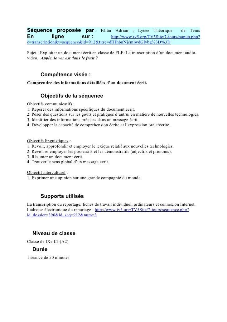 Séquence proposée par : Fărău Adrian , Lycee Théorique           de TeiusEn      ligne    sur :       http://www.tv5.org/T...