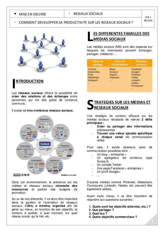 MISE EN OEUVRE RESEAUX SOCIAUX VER.1 09/2016 COMMENT DEVELOPPER SA PRODUCTIVITE SUR LES RESEAUX SOCIAUX ? NTRODUCTION Les ...