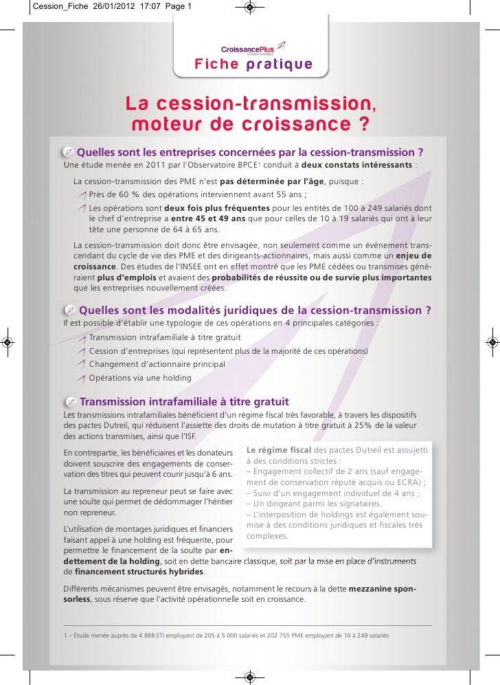Fiche pratique Croissanceplus sur la cession - transmission d'entreprise